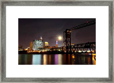 Moon Over Cleveland Framed Print by Daniel Behm