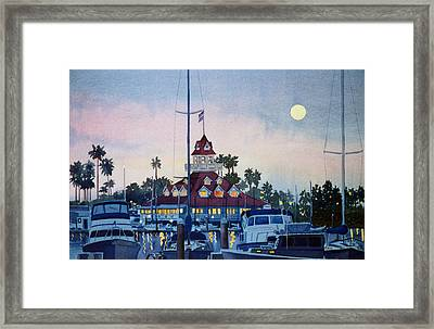 Moon Over Coronado Boathouse Framed Print by Mary Helmreich