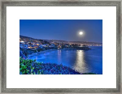 Moon Over Crescent Bay Beach Framed Print