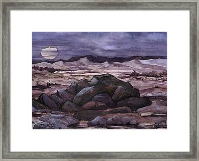 Framed Print featuring the painting Moon Over Desert by Mikhail Savchenko