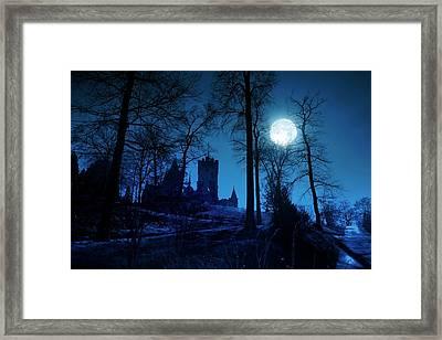 Moon Over Drachenfels Castle Framed Print by Detlev Van Ravenswaay