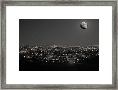 Moon Over Fort Collins Framed Print by David Kehrli
