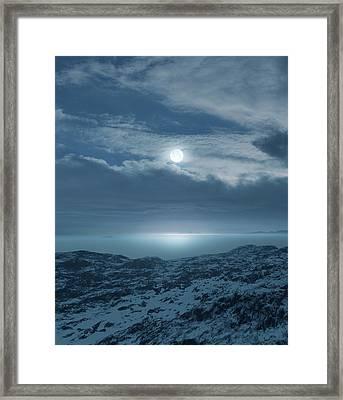 Moon Over Frozen Landscape Framed Print