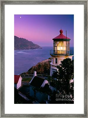 Moon Over Heceta Head Framed Print by Inge Johnsson