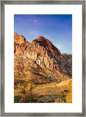 Moon Over Juniper Peak - Red Rock Canyon Las Vegas Nevada Framed Print by Silvio Ligutti