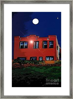 Framed Print featuring the digital art Moon Over La Cienega Exit  by Ecinja Art Works