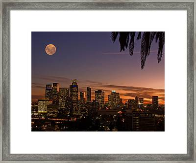 Moon Over L.a. Framed Print