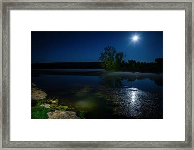 Moon Over Lake Framed Print by Alexey Stiop