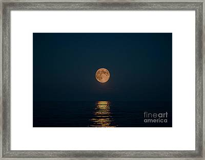 Moon Over Lake Of Shining Waters Framed Print by Barbara McMahon