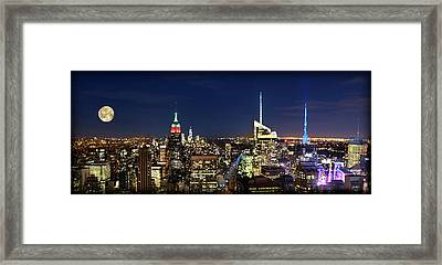 Moon Over Manhattan At Twilight Framed Print by Lee Dos Santos