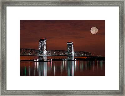 Moon Over Marine Parkway Bridge - Gil Hodges Memorial Bridge Framed Print by Gary Heller