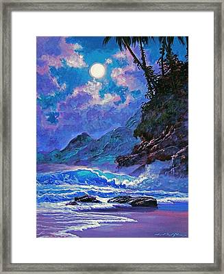 Moon Over Maui Framed Print by David Lloyd Glover