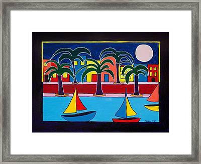 Moon Over Miami Framed Print by Marlene MALKA Harris