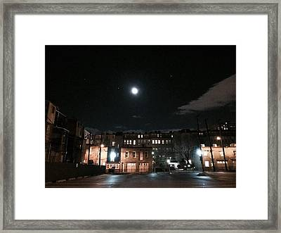 Framed Print featuring the photograph Moon Over Midtown by Toni Martsoukos