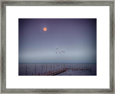 Moon Over Lake Mille Lacs Framed Print