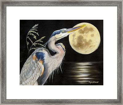 Moon Over Mississippi A Great Blue Herons Perspective Framed Print by Phyllis Beiser