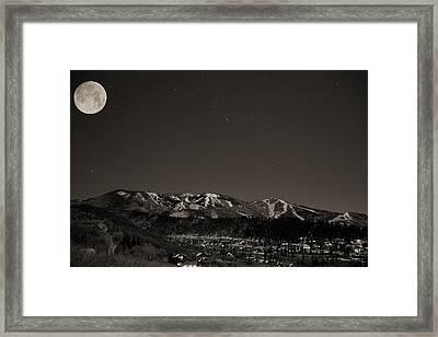 Moon Over Mt. Werner Framed Print