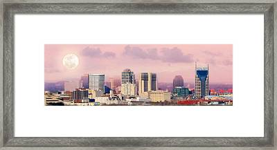 Moon Over Nashville Framed Print by Amy Tyler