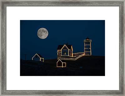 Moon Over Nubble Light Framed Print