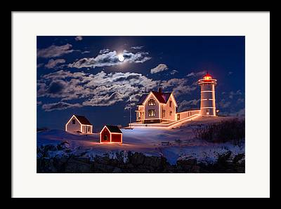 New England Lighthouse Framed Prints