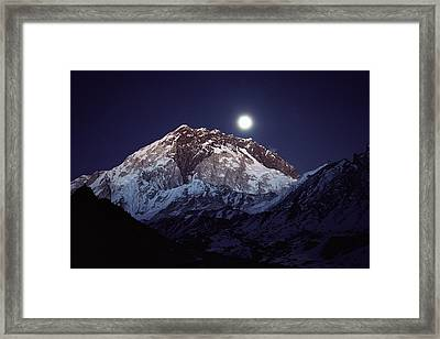 Moon Over Nuptse Nepal Framed Print by Colin Monteath
