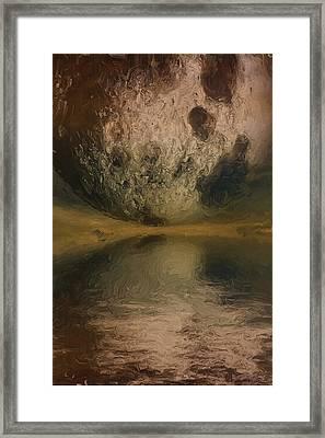 Moon Over Ocean Framed Print by Ayse Deniz