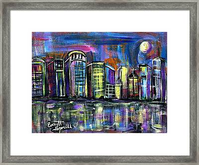 Moon Over Orlando Framed Print by Everett Spruill