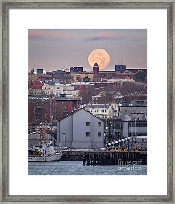 Moon Over Portland Framed Print by Benjamin Williamson