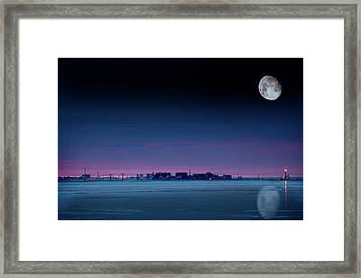 Moon Over Prudhoe Bay Framed Print by Chris Madeley