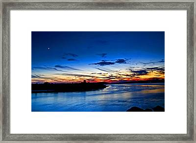 Moon Over Quonochontaug Pond Framed Print