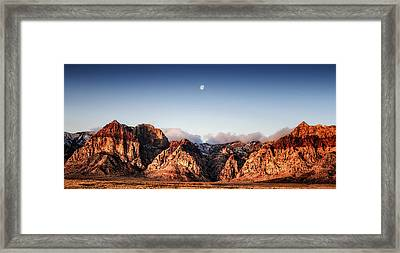 Moon Over Red Rock Canyon Framed Print by Michael White