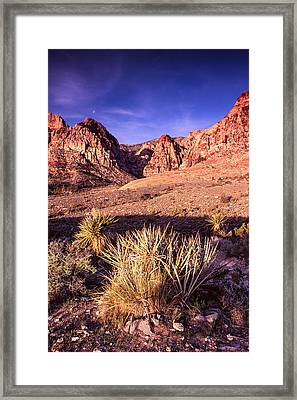 Moon Over Red Rock Canyon Framed Print by Silvio Ligutti