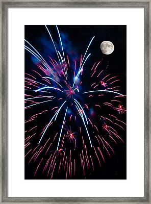 Moon Over Red White And Blue Starburst- July Fourth - Fireworks Framed Print by Penny Lisowski