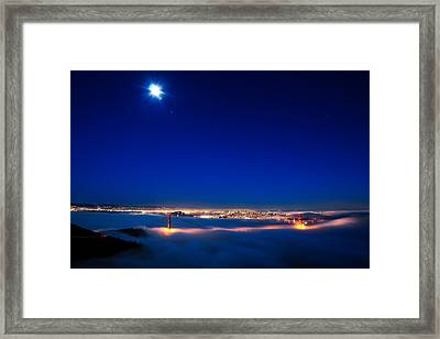 Moon Over San Francisco In Fog Framed Print