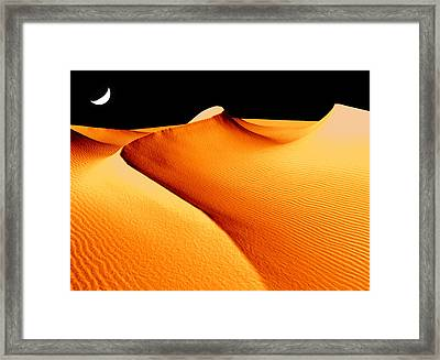 Moon Over Sand Dunes Framed Print