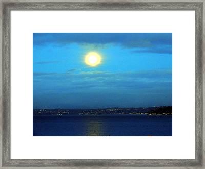 Moon Over Seattle Framed Print