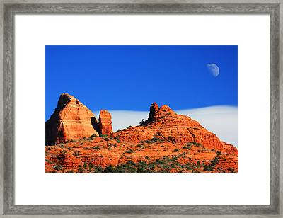 Framed Print featuring the photograph Moon Over Sedona by Tom Kelly
