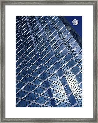 Moon Over Skyscraper Framed Print by Detlev Van Ravenswaay
