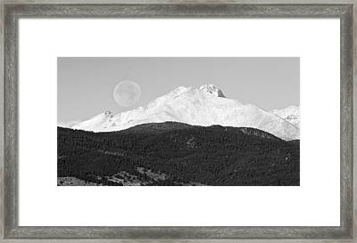 Moon Over Snow Covered Twin Peaks Bw Panorama Framed Print