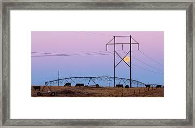 Framed Print featuring the photograph Moon Over Sprinkler by Bill Kesler
