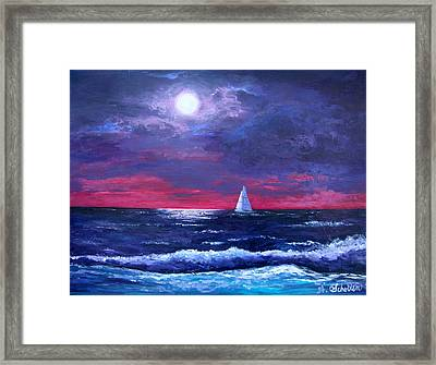 Moon Over Sunset Harbor Framed Print by Amy Scholten