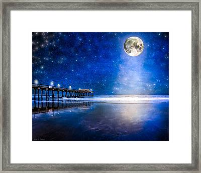 Moon Over The Beach At Tybee Island Framed Print by Mark E Tisdale