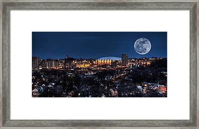 Moon Over The Carrier Dome Framed Print by Everet Regal