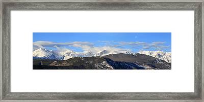 Moon Over The Rockies - Panorama Framed Print