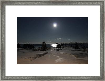 Moon Over The Samoset Framed Print