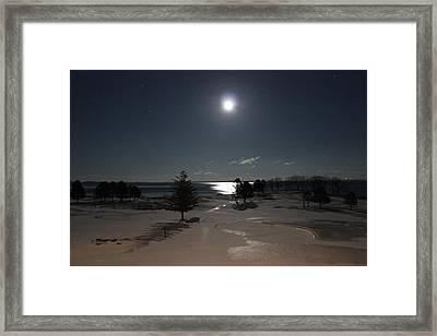 Moon Over The Samoset Framed Print