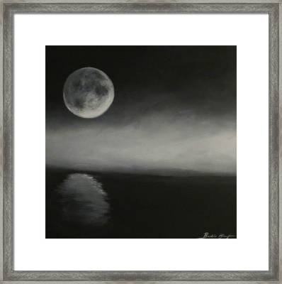 Moon Over The Shores Framed Print by Barbie Baughman