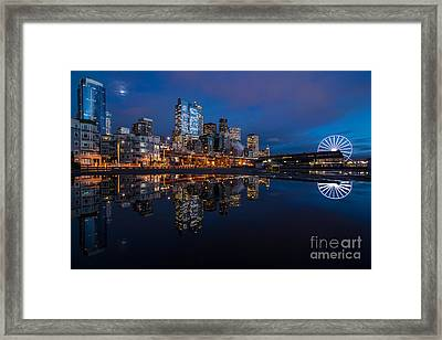 Moon Over The Waterfront Framed Print by Mike Reid