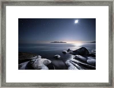 Moon Over Thunder Bay From Silver Harbour Framed Print by Jakub Sisak