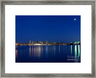 Moon Over Vancouver Skyline Framed Print by Terry Elniski